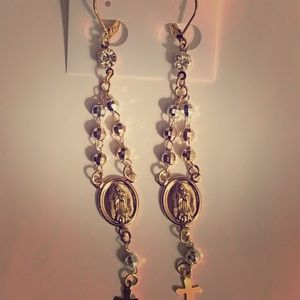 Rosary Earrings of Guadalupe Gold plated